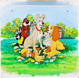 Walt ディズニー Production Cels - Jock, Trusty, The Tramp, Lady, Scamp, Annette, Danielle & Collette