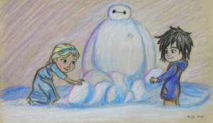 Young Elsa with Hiro and Baymax