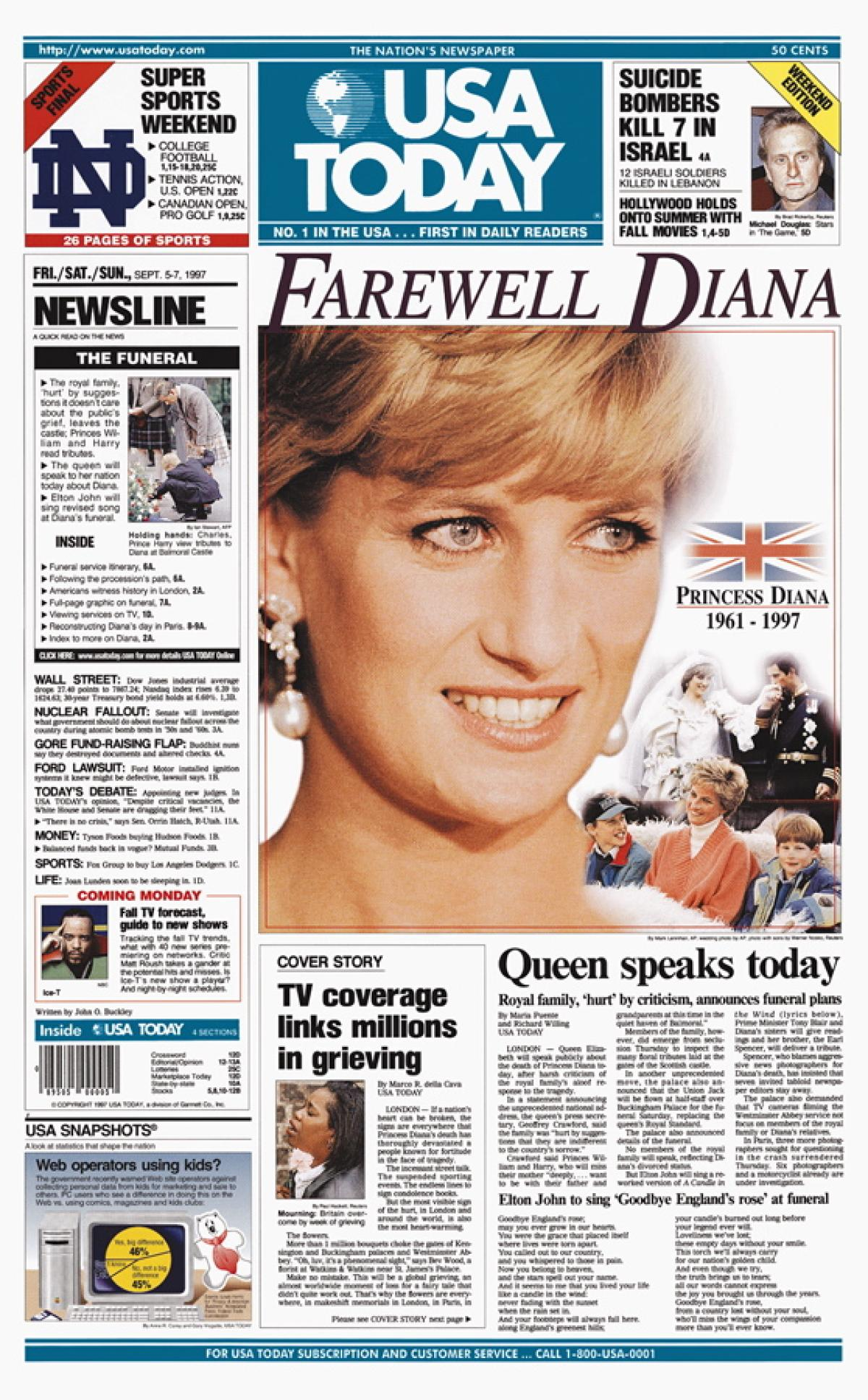 news posting upon little princess diana death