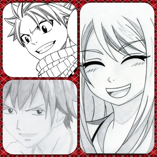 Fairy Tail fond d'écran possibly with animé titled l'amour triangle Nalu and graylu