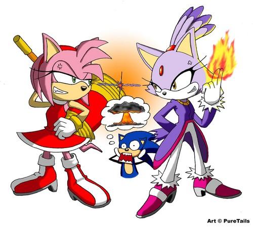 Sonic the Hedgehog karatasi la kupamba ukuta with anime titled Amy Vs. Blaze