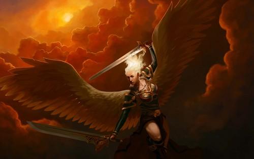 Fantasy Hintergrund probably containing a feuer titled Angel –Jäger der Finsternis