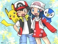 Ash and dawn's winter outfits  - pokemon photo