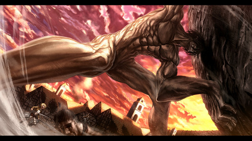 Shingeki no Kyojin (Attack on titan) wallpaper with a fire and a fire titled Attack on Titan