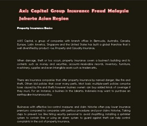 Axis Capital Group Insurance Fraud Malaysia Jakarta Asian Region