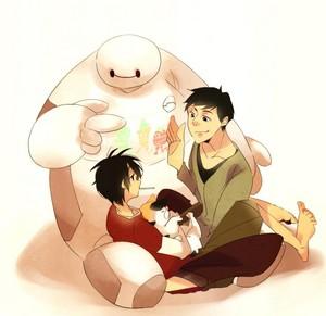 Baymax, Tadashi, Hiro and Mochi