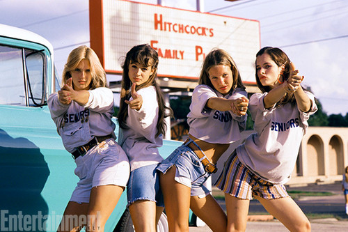 Dazed and Confused karatasi la kupamba ukuta probably with bare legs, hosiery, and a mitaani, mtaa titled Behind the Scenes - Deena Martin, Michelle Burke, Joey Lauren Adams and Parker Posey
