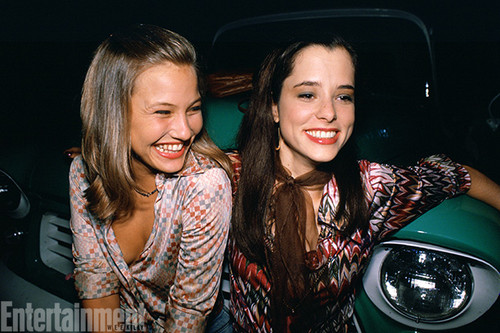 Dazed and Confused Hintergrund probably with an automobile entitled Behind the Scenes - Joey Lauren Adams and Parker Posey
