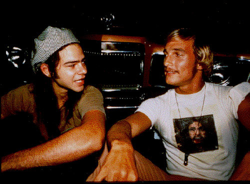 Dazed and Confused Hintergrund possibly with a sign, an automobile, and a coffee break entitled Behind the Scenes - Rory Cochrane and Matthew McConnaughey