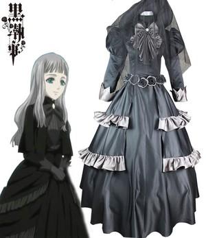 Black Butler Kuroshitsuji Queen Victoria Black Lolita Dress Cosplay Costume