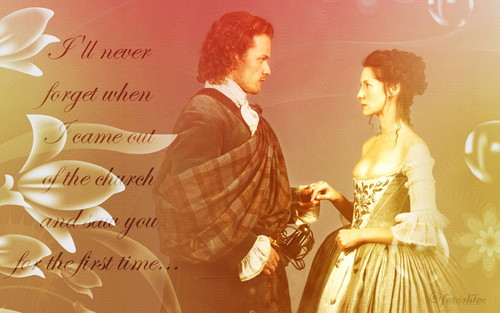 Outlander 2014 TV Series karatasi la kupamba ukuta probably with a bouquet called Claire and Jamie