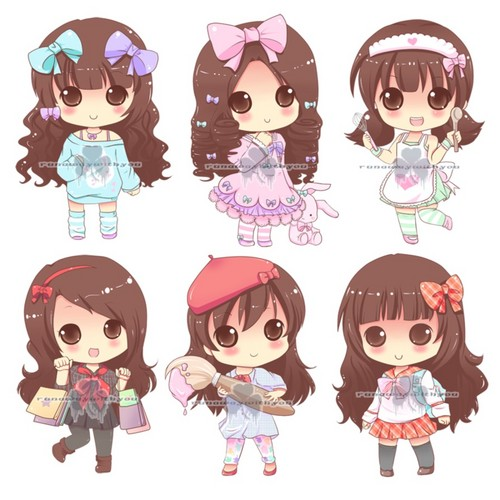 anime achtergrond titled Cute chibi girls
