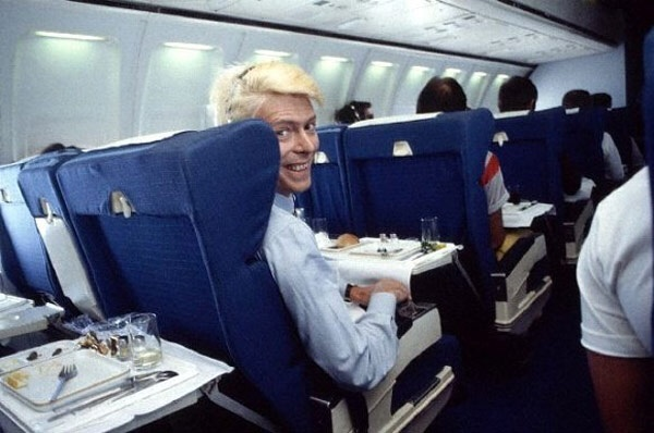 David Bowie on an airplane
