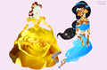 Disney Princess in Flowers - Princess Belle & Princess Jasmine - disney-princess photo