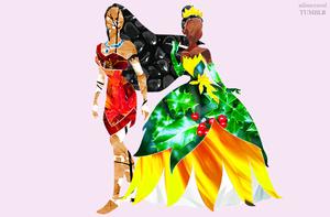 Disney Princess in Flowers - Pocahontas & Princess Tiana