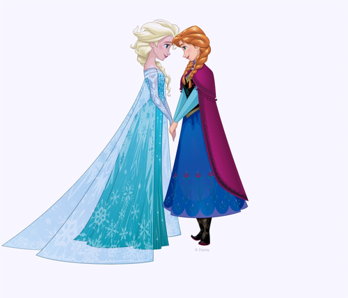 Frozen achtergrond possibly with a mantelet and a mantille, mantilla titled Elsa and Anna