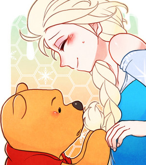 Elsa and Winnie the pooh