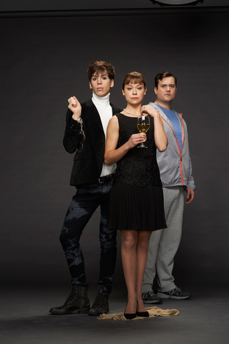 オーファン・ブラック 暴走遺伝子 壁紙 containing a business suit and a well dressed person titled Felix Drawkins, Alison Hendrix and Donnie Hendrix Season 2 Promotional Picture
