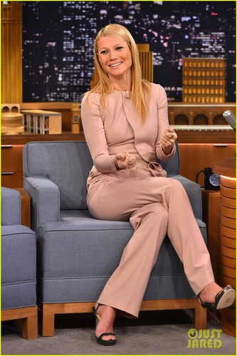 Gwyneth Paltrow wallpaper with a well dressed person and a business suit entitled Gwyneth Paltrow @ The Tonight Show Starring Jimmy Fallon on Wednesday (January 14) in New York City.