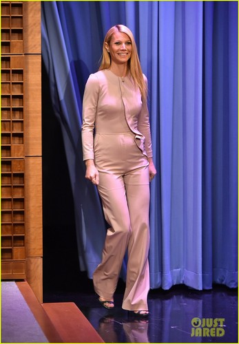 Gwyneth Paltrow wallpaper probably with a business suit, a well dressed person, and a suit entitled Gwyneth Paltrow @ The Tonight Show Starring Jimmy Fallon on Wednesday (January 14) in New York City.