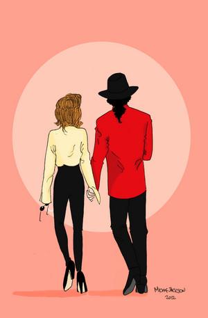 Lisa Presley and Michael Jackson fanart