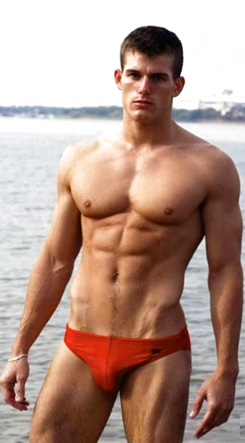 Male Models wallpaper with a six pack, swimming trunks, and a hunk entitled Male Model in Speedo