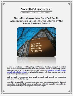 Norvell and Associates Certified Public Accountants on Latest Tax Tips Offered Von the Better Busines