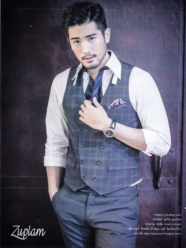 Godfrey Gao wallpaper containing a business suit called OK! Magazine