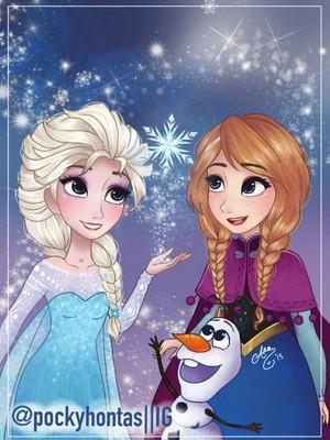 Olaf. Elsa and Anna
