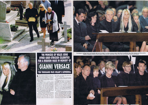 Принцесса Диана Обои possibly containing a business suit titled Princess Diana was pictured attending the funeral in Milan of fashion designer Gianni Versace