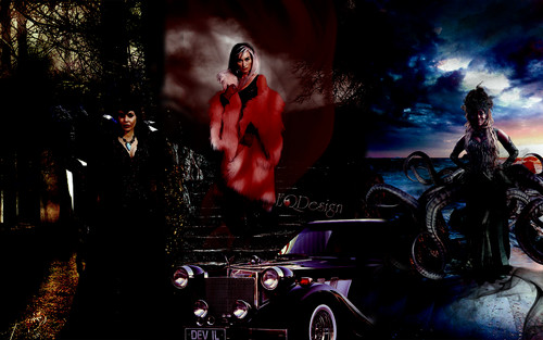Once Upon A Time wallpaper possibly containing a street, a minicar, and a sedan entitled Queens of Darkenss