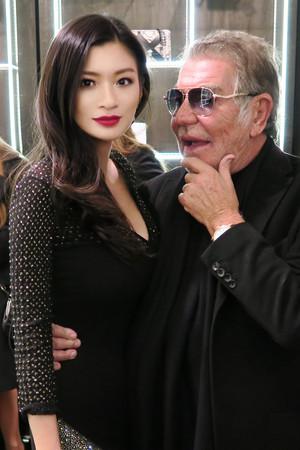 Rebecca Wang and Roberto Cavalli at the Roberto Cavalli spring fashion toon