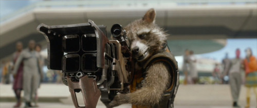 Guardians of the Galaxy 바탕화면 probably with a street, a horse trail, and a 쥐, 마우스 entitled Rocket Raccoon with his Gun