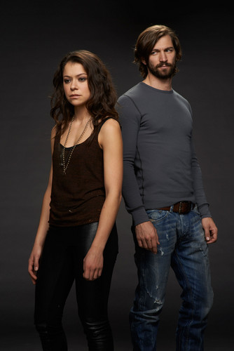 orphan black wallpaper containing bellbottom trousers called Sarah Manning and Cal Morrison Season 2 Promotional Picture