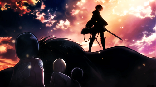 Shingeki no Kyojin (Attack on titan) wallpaper probably with a sunset called Shingeki no Kyojin!~