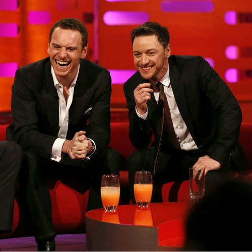 James McAvoy and Michael Fassbender वॉलपेपर containing a business suit, a suit, and a dress suit titled The Graham Norton दिखाना