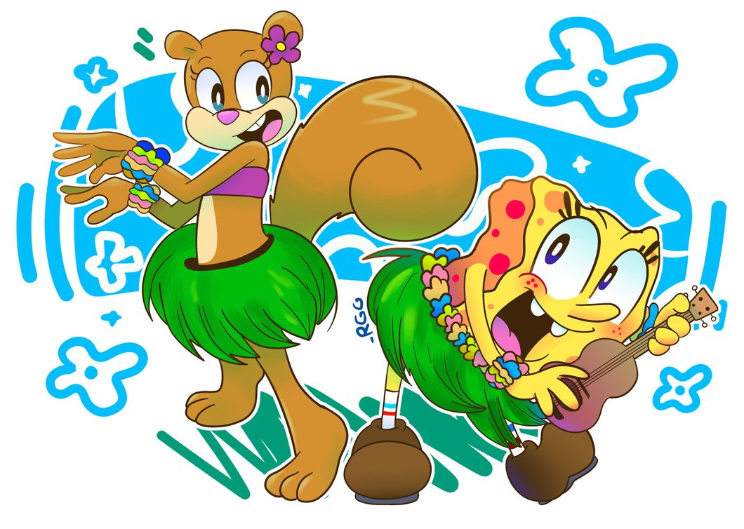 hula buds-spongebob and sandy