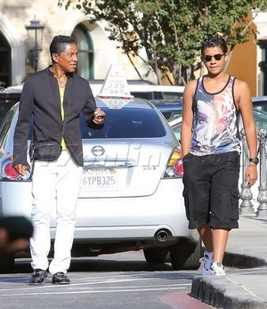 jermaine jackson with his son jermajesty at the commons in calabasas