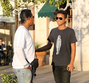 jermaine jackson with son jaafar jackson at the commons in calabasas
