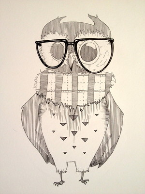 owl with glass
