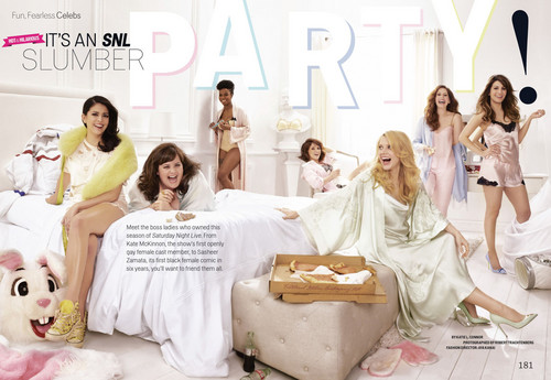 Saturday Night Live wallpaper called 'It's an SNL Slumber Party' - Cosmopolitan, May 2014 [1]