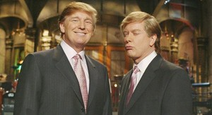 Actual Donald Trump and Darrell Hammond as Donald Trump on Saturday Night Live