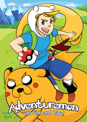 Adventuremon with finn and jake