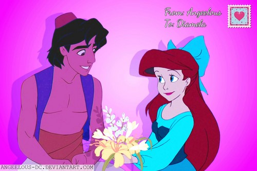 disney crossover achtergrond with anime entitled Aladdin/Ariel Happy Valentine's Day!