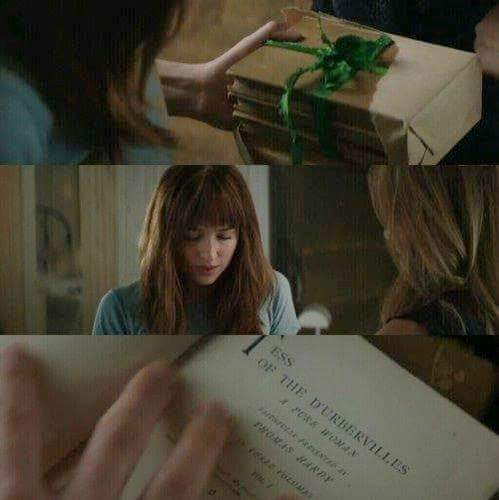 Fifty Shades-Trilogie Hintergrund with a sign and a newspaper titled Anastasia Steele