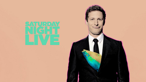 Andy Samberg karatasi la kupamba ukuta with a business suit and a suit called Andy Samberg Hosts SNL: May 17, 2014