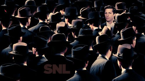 Andy Samberg wallpaper with a snap brim hat, a campaign hat, and a fedora entitled Andy Samberg Hosts SNL: May 17, 2014
