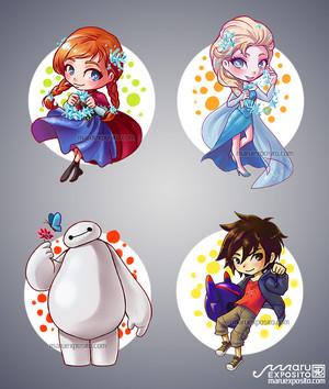 Anna and Elsa - Hiro and Baymax