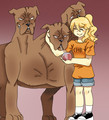 Annabeth and Cerberus - percy-jackson-characters photo