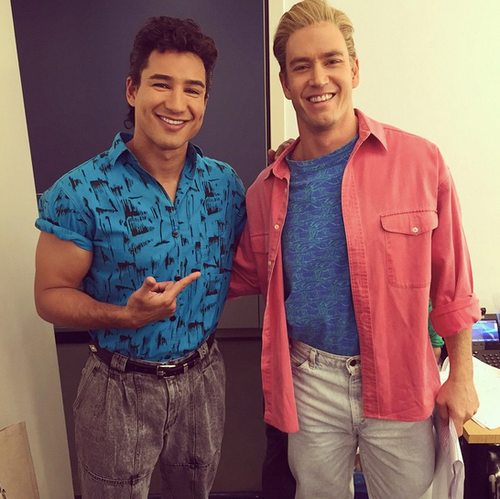 Saved by the Bell wallpaper possibly with long trousers, an outerwear, and flannel called Behind The Scenes - Saved By the Bell Reunion